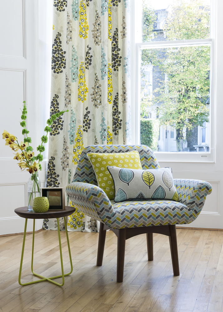 Clarke & Clarke cariba curtains, chair and cushions fabric